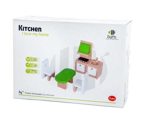מטבח קטן מעץ לילדים כולל שולחן, שני כסאות, תנור וכיור למשחק עצמי פעיל המפתח את הדימיון BGIFTS - תמונה 2