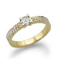 """טבעת אירוסין זהב צהוב """"שארלוט"""" 0.63 קראט F/Si1"""