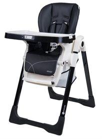 כסא אוכל מפואר לתינוק דגם גרנד Grand בריפוד דמוי עור יוקרתי וגלגלים נשלפים - שחור