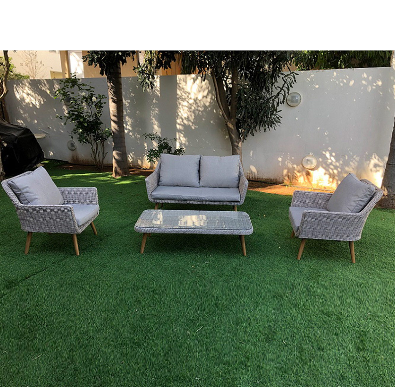 מערכת ישיבה מראטן לגינה הכוללת ספה דו מושבית דגם AMSTERDAM