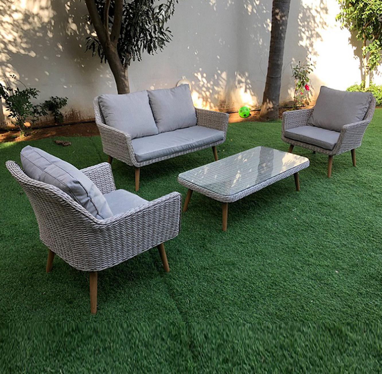 מערכת ישיבה לגינה או למרפסת כוללת ארבעה חלקים עשויה ראטן עם שלדת אלומיניום - תמונה 2