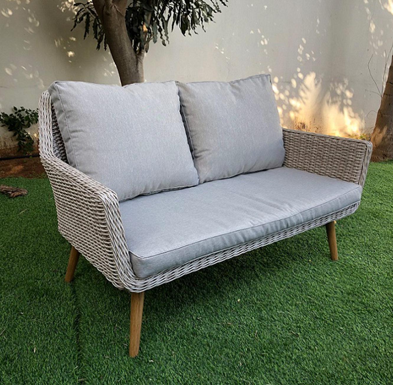 מערכת ישיבה לגינה או למרפסת כוללת ארבעה חלקים עשויה ראטן עם שלדת אלומיניום - תמונה 3