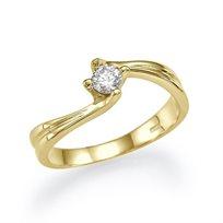 """טבעת אירוסין זהב צהוב """"שירי"""" 0.31 מתאימה לנשים מיוחדות"""