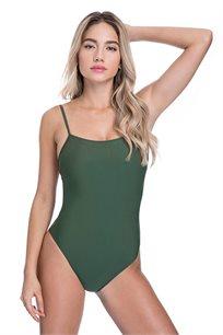 בגד-ים שלם בייסיק גופיה לנשים - ירוק זית