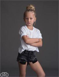 Oro/ שורט ג'ינס (16-2 שנים) - פאטצ' שחור בהיר