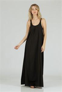 שמלה סאטן כתפיות שחור