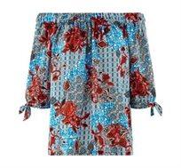 חולצה חושפת כתפיים PROMOD בצבע כחול/אדום