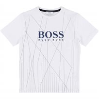 BOSS חולצת טישרט (10-6 שנים) לבן פסים