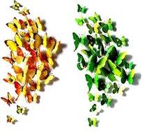 20 פרפרים תלת ממדיים במגוון צבעים וגדלים להדבקה בחדרי הילדים ובבית
