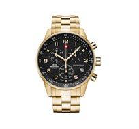 שעון יד אלגנטי לגבר SWISS MILITARY עשוי פלדת אל חלד וזכוכית ספיר
