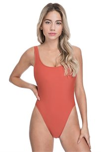 בגד-ים שלם בייסיק Pilpel לנשים בצבע טרקוטה