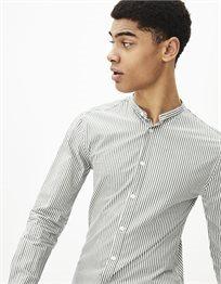 חולצה מכופתרת צווארון סיני 100% כותנה slim fit