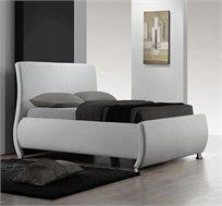 מיטה זוגית בריפוד עור איכותי ורגלי ניקל דגם SERENA - משלוח חינם