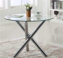 שולחן אוכל עגול מעוצב מזכוכית ורגלי ניקל