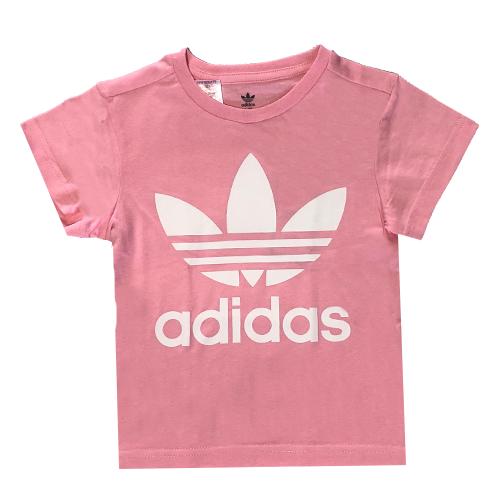 חולצת Adidas לילדות (מידות 9-16 שנים) - ורוד לוגו לבן