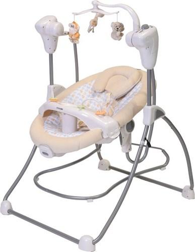 נדנדה חשמלית לתינוק בשילוב וטרמפולינה 2 ב 1 דגם Ty016 - בז'