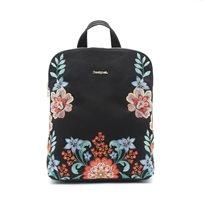 Desigual Bols Odissey Nanaimo - תיק גב מרובע שחור עם רקמת פרחים צבעונית