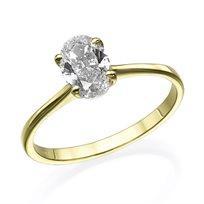 """טבעת יהלום """"סוליטר אובל"""" 0.51 קראט זהב צהוב"""