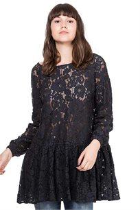 שמלת תחרה פפלום - כחול כהה