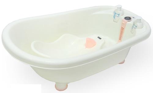 אמבטיה לתינוק עם מד טמפרטורה, מושב פנימי וכלים לסבון דגם ירדן - ורוד