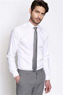 חולצה מכופתרת לגבר עם פאצ'ים במרפקים DEVRED KCOUDI1 - לבן