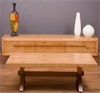 סט מזנון ושולחן סלון תואמים בעיצוב רטרו