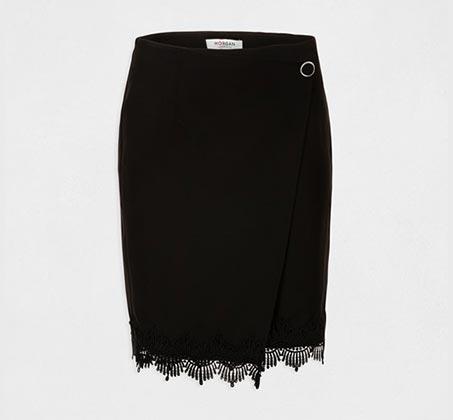חצאית מיני א-סימטרית עם סיומת תחרה MORGAN - שחור