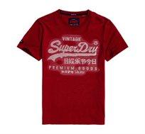 טישרט Superdry Premium Goods לגברים בצבע אדום