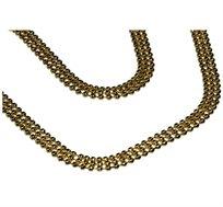 שרשרת שלוש שורות מחוברות מציפוי זהב