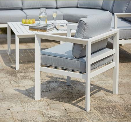 פינת ישיבה פינתית מרופדת לחצר ולגינה מאלומיניום הכוללת ספה פינתית כורסא ושולחן - תמונה 3