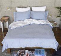 סט מצעים זוגי פסי קנדי כחול לבן 4 חלקים 100% כותנה סרוקה סאטן + זוג ציפיות מתנה
