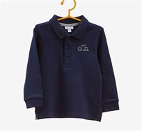 פולו שרוול ארוך OVS לילדים בצבע כחול נייבי עם כיתוב