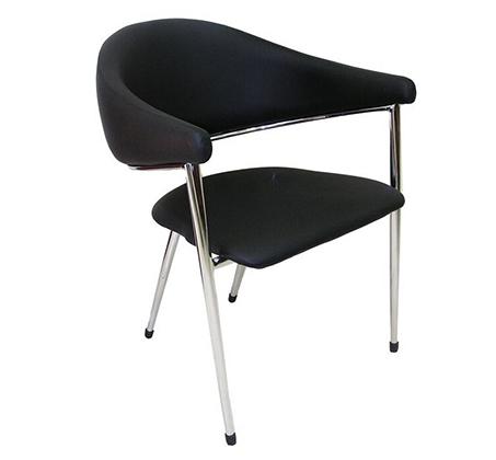 כיסא אורח בריפוד דמוי עור בשילוב ניקל דגם תמיר