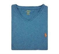חולצת טישרט בצבע טורקיז חלקה צווארון וי POLO RALPH LAUREN
