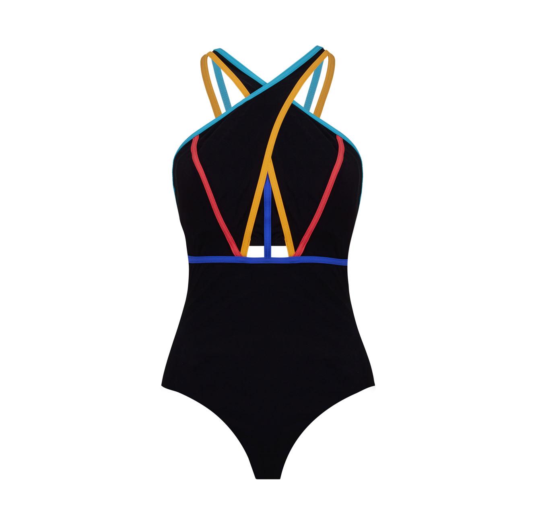 בגד ים שלם מקולקציית FREE BY GOTTEX - שחור עם חיבורים צבעוניים