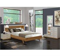 סט ריהוט לחדר השינה עם מיטה שידות ומראה דגם דרור