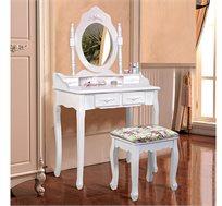 שידת איפור טואלט בעיצוב וינטג' לחדר כולל כיסא