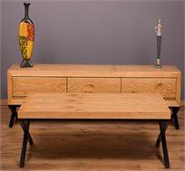 סט מזנון ושולחן סלון בעיצוב רטרו קלאסי עם מנגנון טריקה שקטה