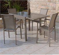 מערכת גן מפוארת bandi dining מאלומיניום כוללת שולחן מרובע ו-4 כסאות מבית SCAB