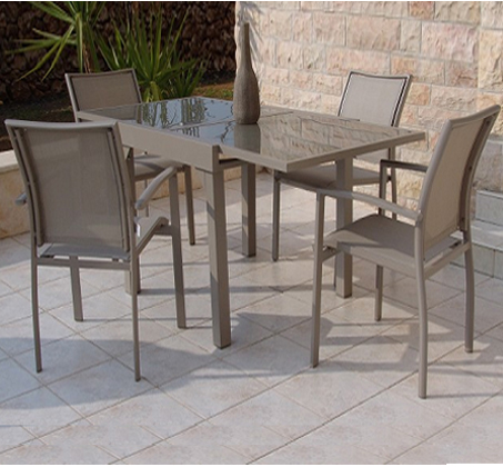 סט אוכל לגינה SCAB כולל שולחן מרובע נפתח ו-4 כיסאות דגם bandi dining
