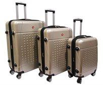 Swiss Travel סט 3 מזוודות קשיחות שמפניה