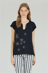 חולצה T כוכבים שחור