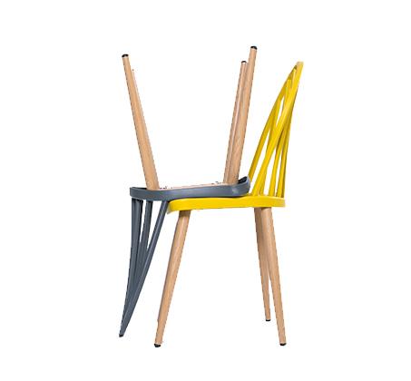 כסא במראה עץ לפינת אוכל בעיצוב מודרני בצבעים לבחירה  - תמונה 2
