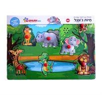 פאזל עץ אלקטרוני דובר עברית לגילאי 18M+ דמויות חיות ג'ונגל SPARK TOYS