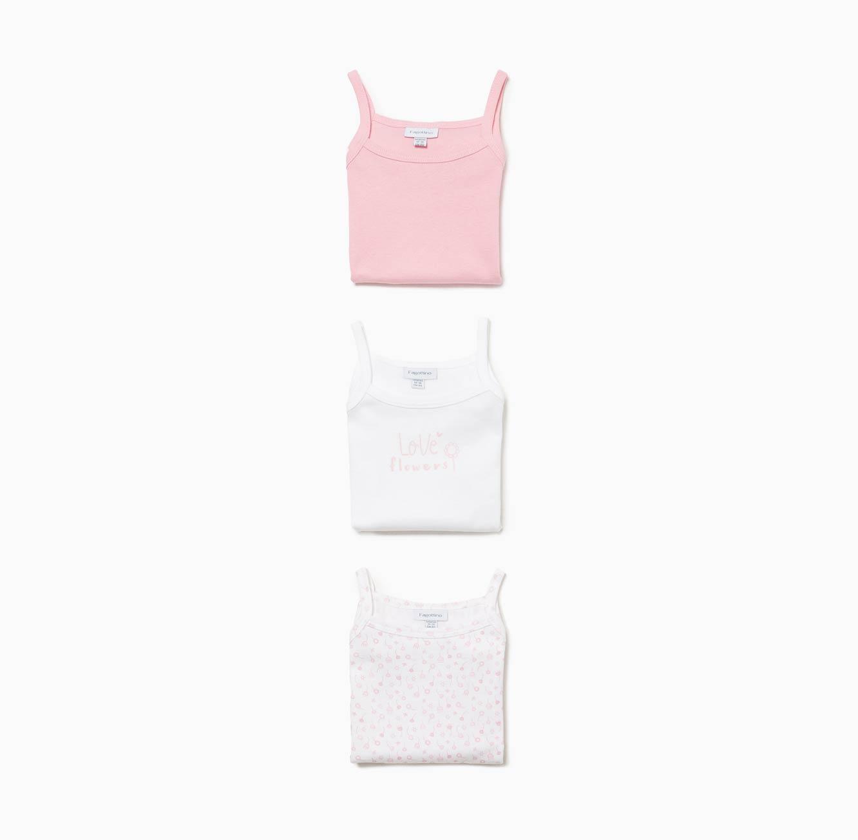 מארז 3 בגדי גוף OVS לתינוקות וילדות ללא שרוולים - הדפס פרחים
