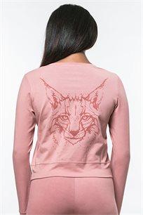 חולצת קטיפה בגזרת קרופ לנשים עם שרוולים ארוכים בצבע ורוד