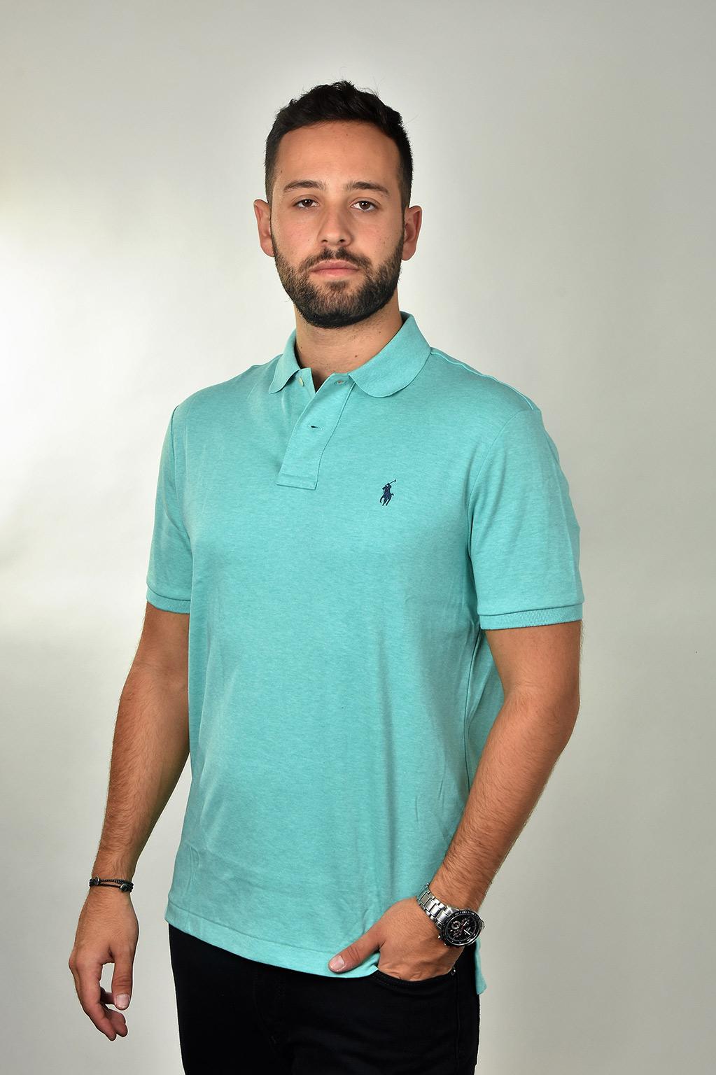 חולצת פולו טורקיז CLASSIC FIT לוגו כחול POLO RALPH LAUREN