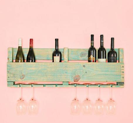 מדף כפול לכוסות ובקבוקי יין