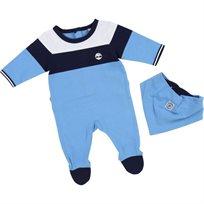 Timberland טימברלנד אוברול תינוק (1-3 חודשים) - אוברול תכלת כחול וכובע
