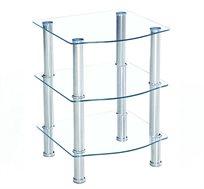 שולחן קפה עשוי זכוכית מחוסמת בעל 3 מדפים להנחת חפצי נוי שונים HOMAX